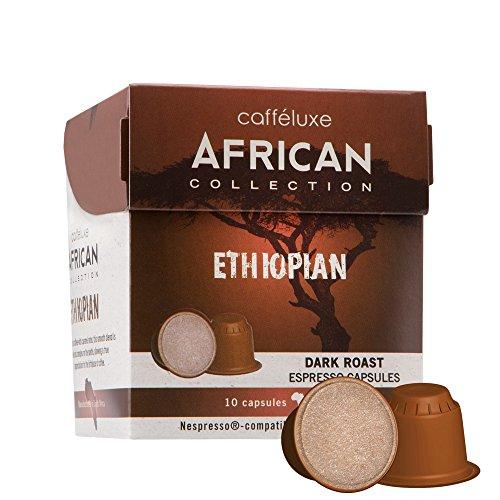 Caffeluxe African Collection Bio kompostierbare Nespresso kompatible Kaffee Kapseln Espresso dunkle Röstung Äthiopien 10 oder 60 Stück (60)