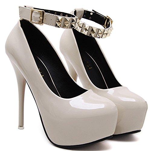Oasap Women's Round Toe Platform Stiletto Ankle Buckle Pumps Black