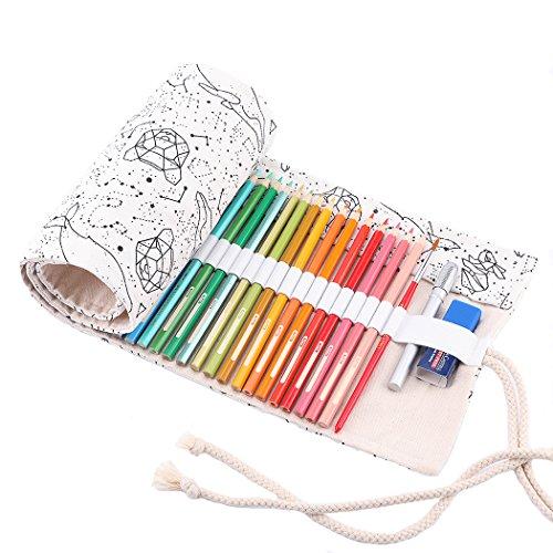 Abaría - Bolso para lápices, estuche enrollable para 48 lapices colores, portalápices de lona, bolsa organizador lápices para infantil adulto, Constelaciónl 48