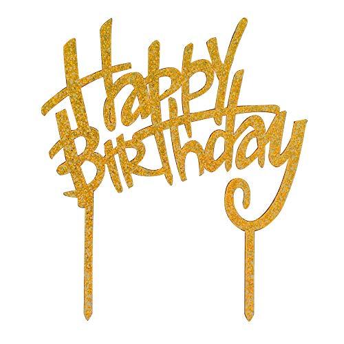 thday Tortenaufsatz, Glitzer, goldfarbenes Acryl, Monogramm, Geburtstagskuchenaufsatz, Geburtstagsparty-Dekorationen ()