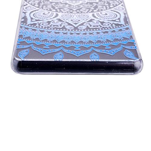 SMARTLEGEND Custodia in Silicone per Sony Xperia Z3, Gomma TPU Copertura Protettiva Soft Case, Bumper Cover Morbida Flessibile Caso Ultra Sottile Coprire Anti-graffio Cover Antiurto con Girasoli Patte Blu