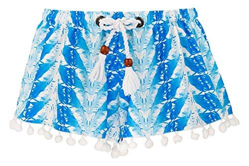 Snapper Rock Mädchen Schwimmshortss Federn Badeshorts, Blau, 4-5 Jahre, 104-110cm