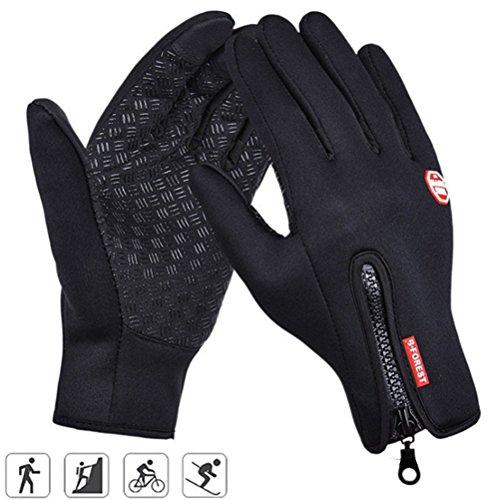 Touchscreen Handschuhe Herren Winddichte Fahrradhandschuhe Winter Damen Warme Fleece Handschuhe für Outdoor