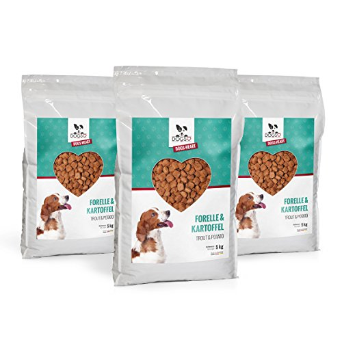 DOGS-Heart Forelle&Kartoffel - Getreidefreies Hundefutter mit viel Fleisch (3x5 kg)