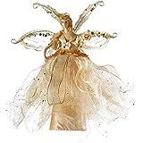 WeRChristmas, Puntale per albero di Natale: Fatina/Angelo con abito scintillante, mani e testa in ceramica, 33 cm, Oro (gold)