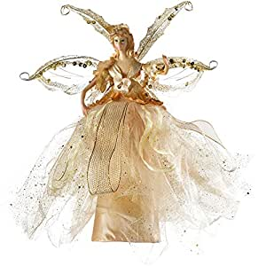 WeRChristmas Fairy Christmas Tree Topper with Ceramic Head and Hands, 28 cm - Gold