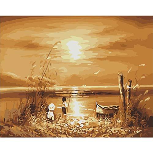 SDXGCFV Rahmenlose Bilder Malen Nach Zahlen Leinwand Handgemalte Zeichnung DIY Ölgemälde 40 * 50 cm
