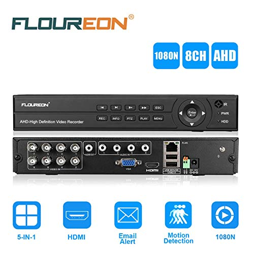 FLOUREON 8CH AHD 1080N HDMI DVR Recorder H.264 P2P CCTV Videoüberwachung unterstützt TVI/CVI/AHD/Analog/IP Kamera - Mit Dvr Ptz