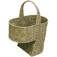 WoodLuv Large Seagrass Stair Basket/Step Storage Basket With Handle, Natural