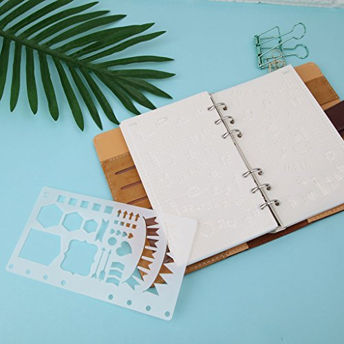 ECMQS Ball Journal Template - Plastic - Planner - DIY - Craft - Drawing Model - Stage Diary - A6, Fabric, White, 6