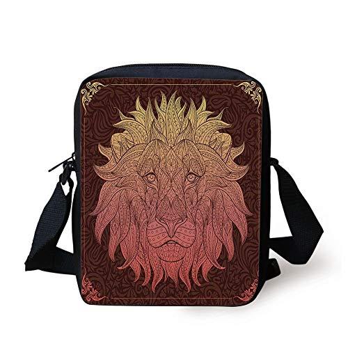 CBBBB Safari Decor,Patterned Ornate Lion Head with Digital Featuring Totem Asian Zoo Wild Boho Home Decor,Yellow Maroon Print Kids Crossbody Messenger Bag Purse - Safari Room Decor