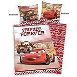 Herding 442961050 Bettwäsche Cars Friends Forever, Kopfkissenbezug: 80 x 80 cm und Bettbezug: 135 x 200 cm, 100 % Baumwolle, Renforce -
