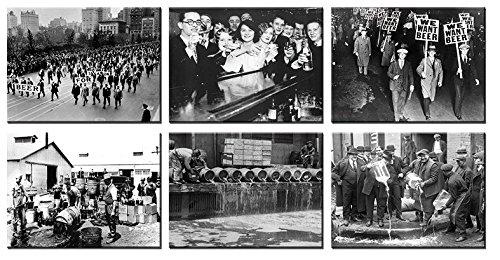 time4art Prohibition in den Vereinigten Staaten Zwischenkriegszeit 6 BILDERN 40x30cm Print Canvas Bild auf Keilrahmen Leinwand