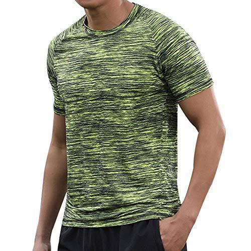 Yaohxu Basic O-Neck Shirt,Herren Sommer Casual O-Neck T-Shirt Fitness Sport Schnelltrocknend Atmungsaktiv Top Bluse,T-Shirts Herren Slim fit,Grün,XXXXXXL - Grüne Haut, Körper Zu Waschen
