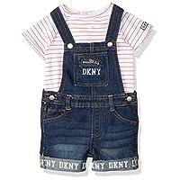 DKNY Baby Girls' Shorts Set, Shortall conch Shell-Bright White, 18M