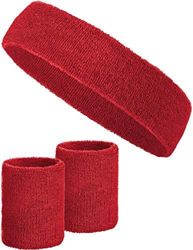 chweißband-Set mit 2X Schweißbändern für die Handgelenke + 1x Stirnband für Damen & Herren (Rot) ()