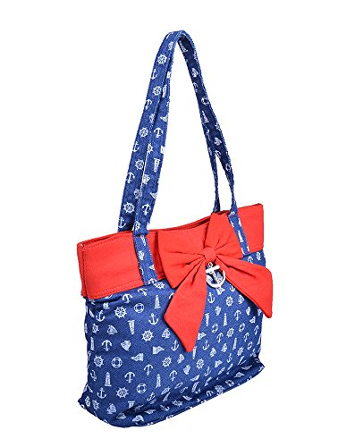 Küstenluder KARYN Sailor ANKER Bow Canvas TASCHE Bag - Blue Rockabilly Jeansblau / Rot