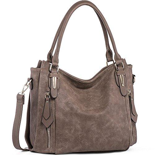 iYaffa Damen Handtaschen Schultertaschen Umhängetaschen PU Leder Henkeltaschen Tote Damen Taschen für Frauen Mittlere Größe L(38CM) * H(31CM) * W(13CM) Leichter Kaffee