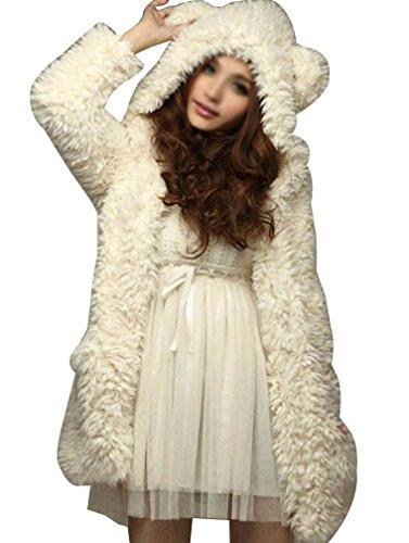 Donna cappotto di pelliccia ecologica manica lunga parka con cappuccio come immagine l