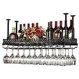 Tao Weinregale Hängende Weinflaschenhalter Metall Eisen Weinglas Rack Becher Stemware Racks Vintage Kreative Bar Dekoration Display Regal höhenverstellbar (Farbe : SCHWARZ, größe : 100 * 30cm)