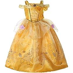Pettigirl Niñas Princesa Dorada Belleza Traje Mágico Fantasía Vestir 4 años