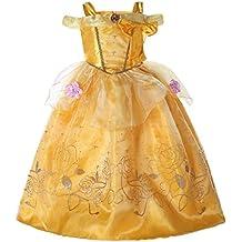 57e9a58fb Vestido de princesa estilo Bella ... Pettigirl Niñas Princesa Dorada  Belleza Traje Mágico Fantasía Vestir