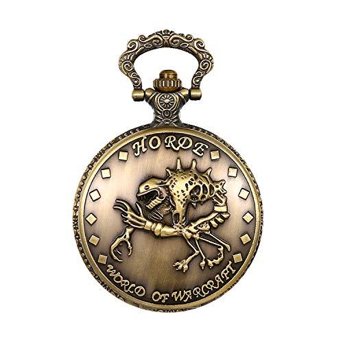 Herren Analog Quarz Vintage Monster Skelett Schädel Uhr Pocket Watch mit Halskette Kette ()