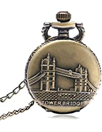 ShopyStore Small Size Vintage Bronze Tower Bridge Quartz Pocket Watch Men Women Fob Watches Mini Cut