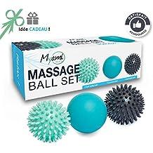 RELÁJESE Un conjunto único de 3 bolas de masaje diferentes - Ayuda a aliviar la tensión y el estrés. Perfectas para masajear los pies, los hombros, los brazos y la espalda // Una idea original de regalo Zen