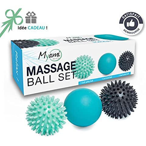 RELAX Un set unico di 3 sfere per massaggio diverse – Aiutano ad alleviare tensione e stress. Perfette per massaggiare i piedi, spalle, braccia e schiena // Un'originale Idea Regalo Zen - 6 Kit Completo Del Corpo