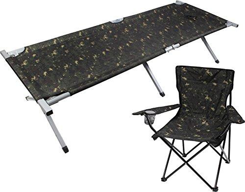 Camping-Set bestehend aus Aluminium-Feldbett und Klappstuhl mit Armlehnen