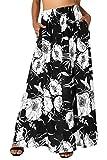 BaiShengGT Damen Röcke Lang Elegant Blumen Boho Maxi Beach Sommer Rock mit Seitentaschen Schwarz-Weiß L