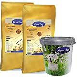 12,5 kg Lyra Pet Dog Light + 12,5 kg Lyra Dog Senior Hundefutter + Futtertonne