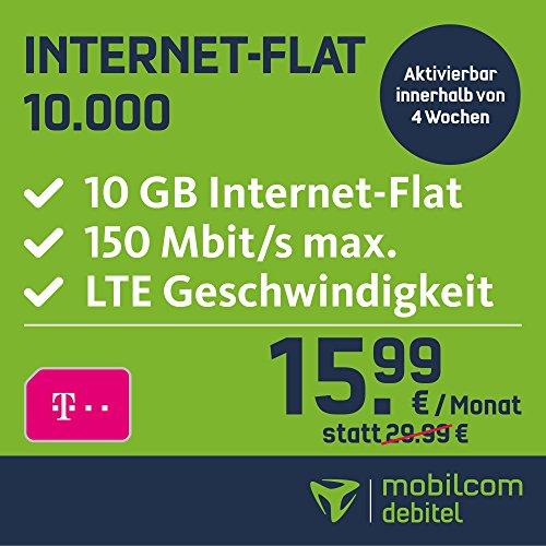 mobilcom-debitel Internet-Flat 10.000 im Telekom-Netz (15,99 EUR monatlich, 24 Monate Laufzeit, 10 GB Internet-Flat, LTE mit max. 150 MBit/s, EU-Roaming-Flat)