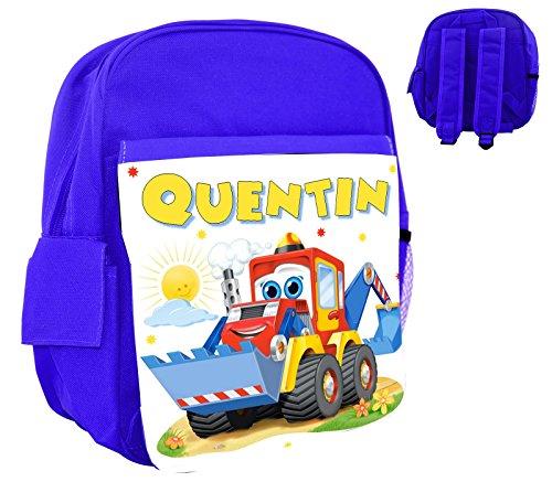 cdbf75eb8d Sac à dos rose/bleu/rouge enfant tracteur rigolo personnalisé avec prénom  ...