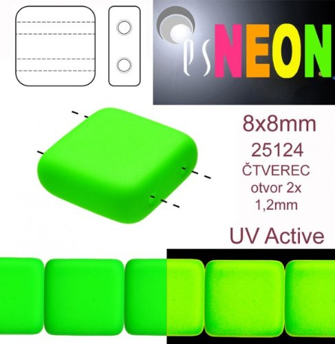 12-pcs-czech-glass-square-beads-2-holes-estrela-neon-uv-active-8x8-mm-green