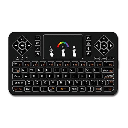 Wisenovo Wireless Tastatur mit Touchpad,Q9 Kabellose Tastatur 2.4GHz Bunte Hintergrundbeleuchtung,USB Tastatur,Mini Tastatur für Laptop,PC,Computer geeignet für Büro,Haus und Spiel-Schwarz