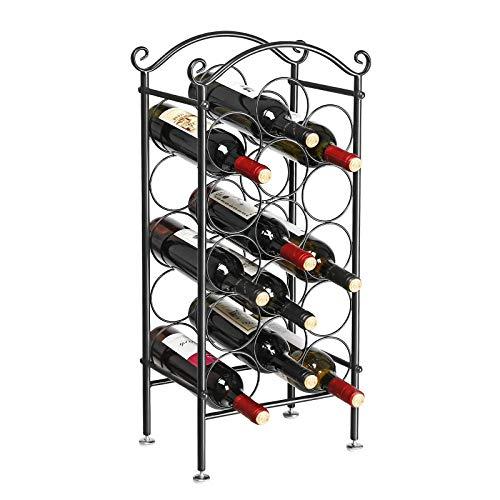 SONGMICS Botellero metálico, Organizador para 15 Botellas de Vino, 36 x 20 x 70 cm, Negro LSW02B