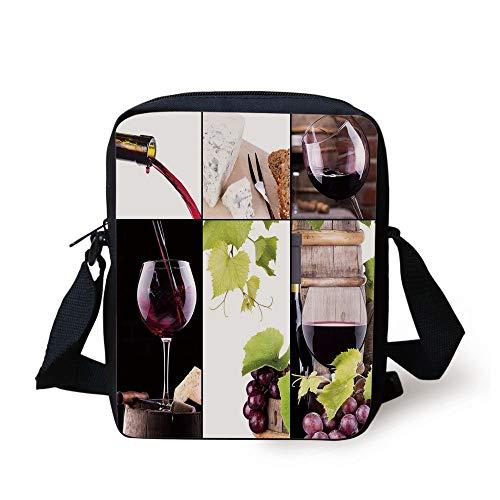 LULABE Wine,Wine Collage with Barrel Bottle Wineglass Grape Gourmet Taste Beverage Decorative,Burgundy Light Green White Print Kids Crossbody Messenger Bag Purse Grape Milk Glass