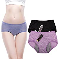 YOYI FASHION Women Menstrual Period Briefs Jacquard Easy Clean Panties