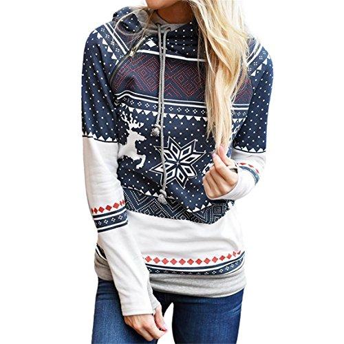 Frauen Weihnachten Hoodies,Moonuy Damen Mädchen Baumwolle Persönlichkeit Zipper Dots Print Tops Mit Kapuze Casual Sweatshirt Pullover Herbst / Winter Neue Stil Bluse (L, Blau) (Kleid Mädchen Gap)