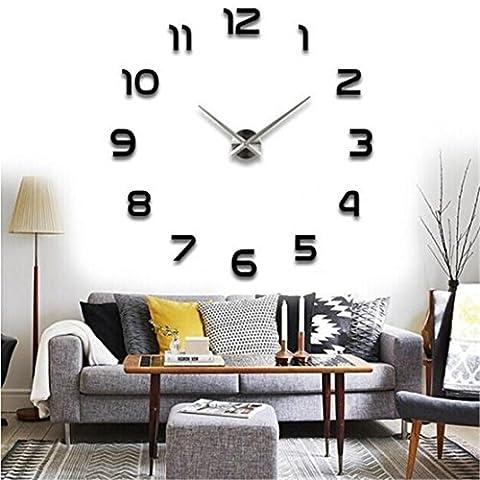 Mode Décoration murale, Reaso Acrylique 3D Horloge Stickers muraux-63cm x 63cm / 24.8