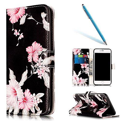 iPhone 7 Smartphone Cassa, CLTPY Puro Vintage Belle Portatile Back Cover in Soft Morbida Corda, Completa Semplice Kickstand e Cinghia Strap Resistenza Disegno Protettivo Case per Apple iPhone 7 4.7(N Azalea
