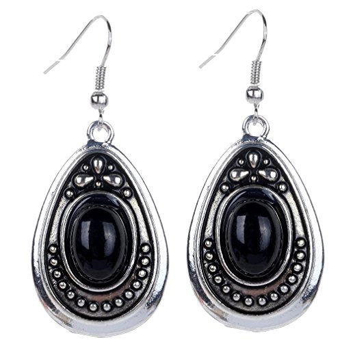 Yazilind vendimia de plata tibetana Negro Oval turquesa cuelgan los pendientes del gancho de la gota mujeres de regalo