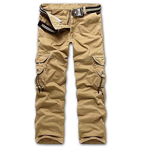 TIMEMEAN Kurze Hosen Herren Sommer Draußen Baumwolle Multi-Pocket Reißverschluss Fliegen Freizeithose Lange Hosen Big Star Bootcut Jeans
