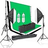 SAILUN Studioleuchte und Hintergrundsystem Fotostudio Set, 2 x 105W Lampen Softbox mit Höhenverstellbar Lampen-stativ , 1,8 x 2,8m Hintergrundstoff (Weiß Grün Schwarz)