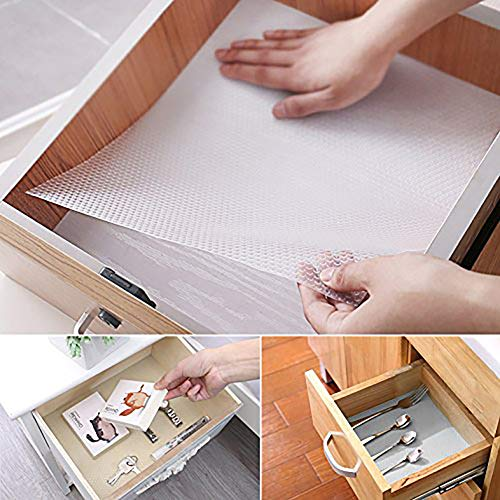 Queta Schubladenmatte Matze 2er Set Transparente Antirutschmatte Einlegefolie für Schränke Plastik Unterlage für Küche Bad, 150 x 50cm (Schrank Schublade Folien)
