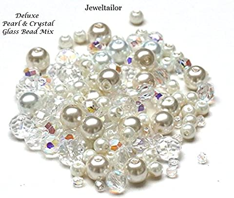 Jeweltailor Bridal White & Ivory Pearls With Sparkly Crystal Glass