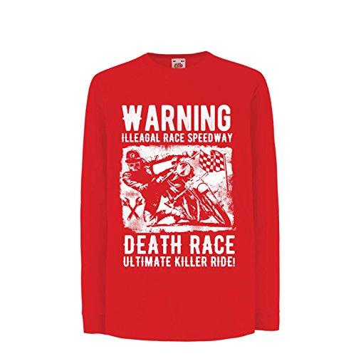 Kinder-T-Shirt mit Langen Ärmeln Todesrennen - ultimative Killerfahrt, Motorradrennen, Klassiker, Vintage, Retro-Schädel-Biker, Motorrad (14-15 Years Rot Mehrfarben)