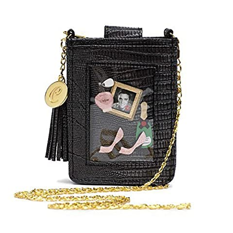 Clippy London Mini schwarz Handytasche Tasche Fun und stylish Mock Croc Design Gold Kette und Kunststoff Transparent Tasche für
